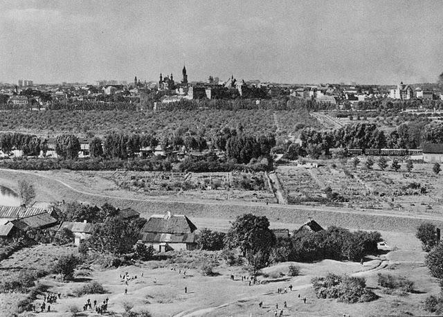 Widok na łąki Tatary i stare miasto. Zdjęcie wykonano-jak przypuszczam- z wieży Zakładów Eternitu, gdzie kiedyś krótko pracowałem.
